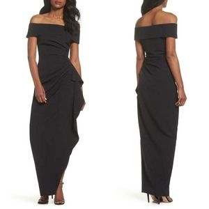 NEW Vince Camuto BLACK OFF THE SHOULDER Crepe GOWN